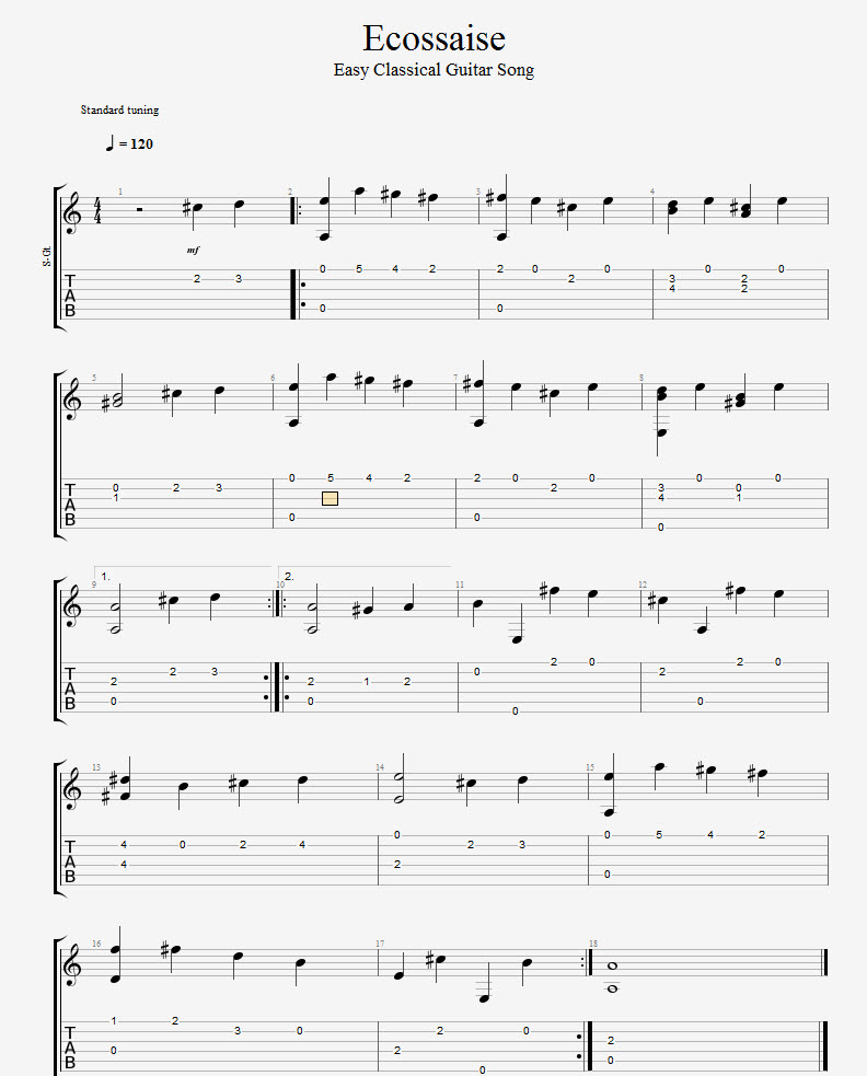 ecossaise easy classical guitar lesson free tab drue james