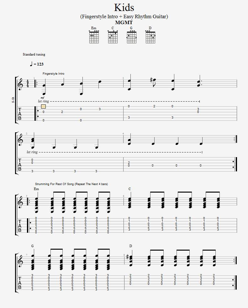 Kids-Easy-Version-MGMT-TAB-SHEET1 - LearnGuitarInLondon com