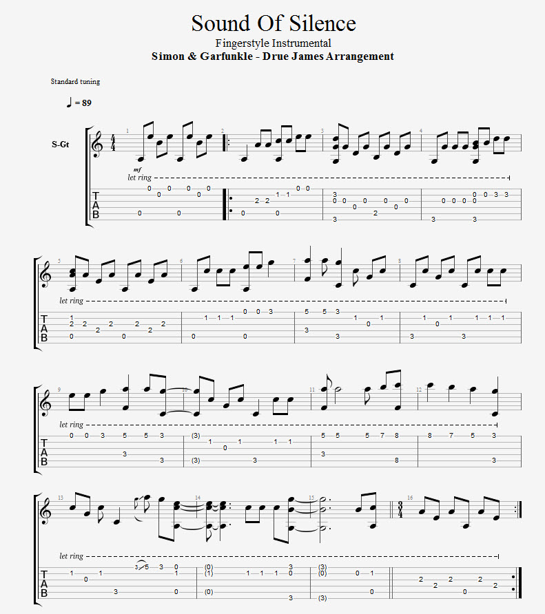 Sound Of Silence Fingerstyle Arrangement Tab